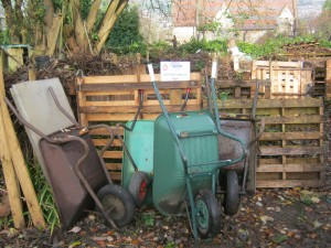 Composting with wheelbarrows
