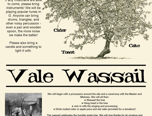 Join us for the first ever Vale Wassail on Sunday 19th February 2017